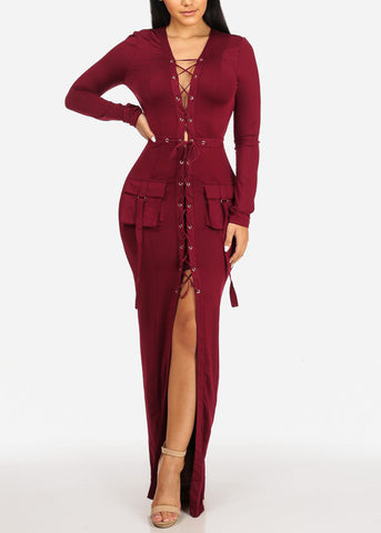 Image of Burgundy Lace Up Maxi Dress