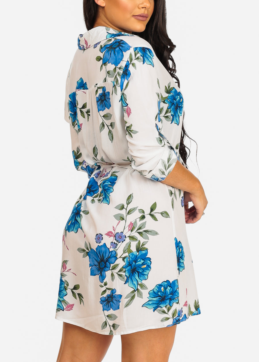 Casual White Floral Dress