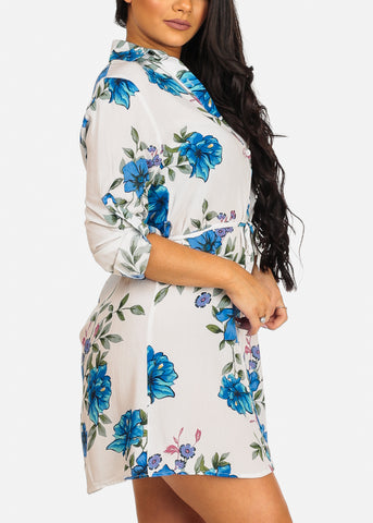 Image of Cute Casual Lightweight White Floral Print Dress W Tie Belt