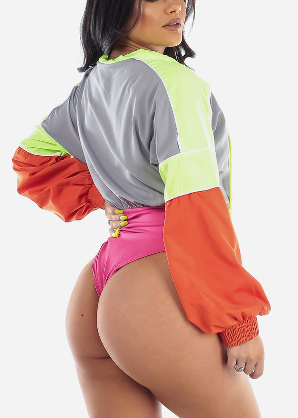 Color Blocked Wind Breaker Bodysuit