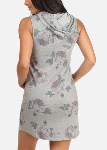 Women's Junior Ladies Sexy Casual Going Out Trendy Floral Print Grey Tshirt Dress With Kangaroo Pocket