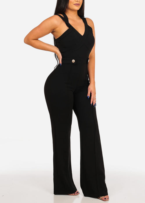Women's Junior Sexy Ladies Night Out Clubwear Party Gala Trendy Solid Stretchy Black Wide Legged Jumper With Gold Buttons