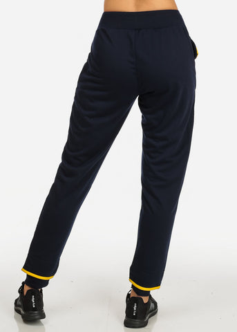 Image of Navy High Rise Drawstring Waist Skinny Pants