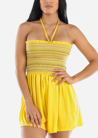 Yellow Strapless Smocked Romper