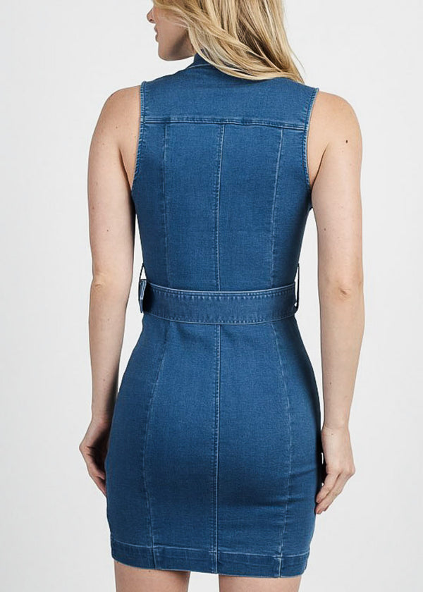 Sleeveless Snap Closure Denim Dress