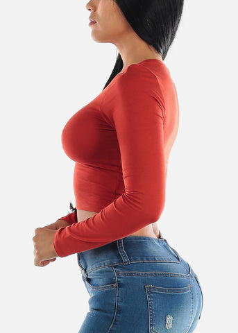 Image of Long Sleeve Brick Crop Top