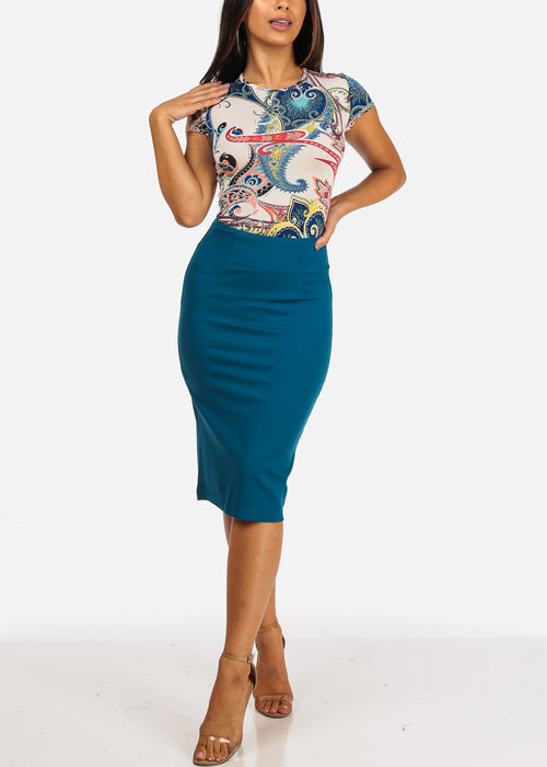 Career Wear High Rise Teal Pencil Midi Skirt