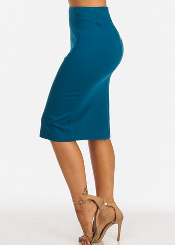 Image of Career Wear High Rise Teal Pencil Midi Skirt