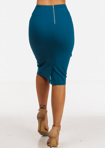 Image of High Rise Teal Pencil Skirt