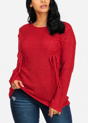 Cozy Red Knitted Tunic