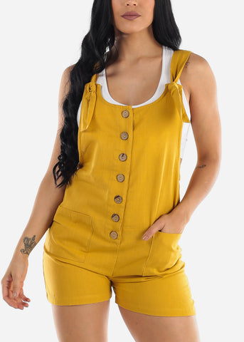 Mustard Linen Cotton Button Up Romper