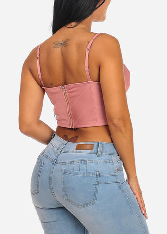 Image of Sexy Spaghetti Strap Mauve Crop Top