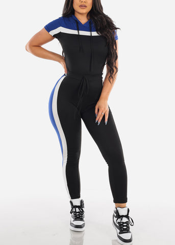 Image of Sexy Short Sleeve Sporty Look Sport Suit Tracksuit Stripe Colorblock Trouser Set Color Block Blue Two Piece Set For Women Ladies Junior
