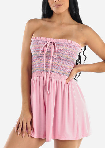 Image of Pink Strapless Smocked Romper