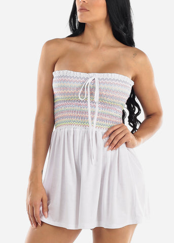 White Strapless Smocked Romper