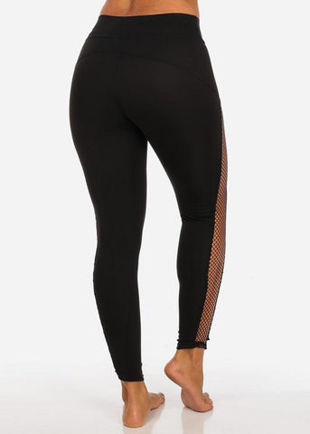 High Waisted Sides Fishnet Detail Black Leggings