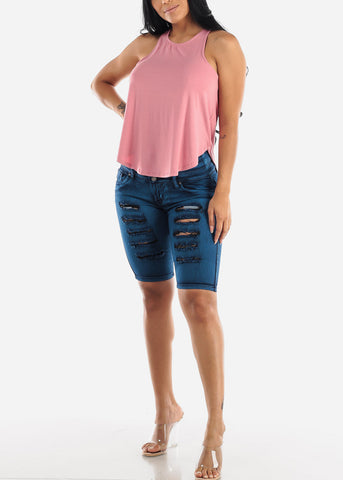 Sleeveless Casual Mauve Top