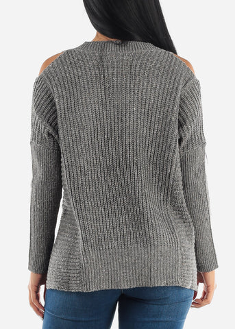 Grey Open Shoulder Vneck Sweater