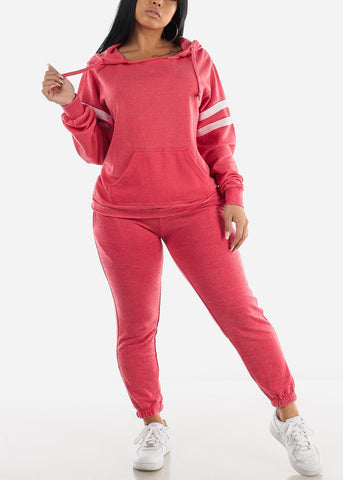 Image of Long Sleeve Red Fleece Hoodie