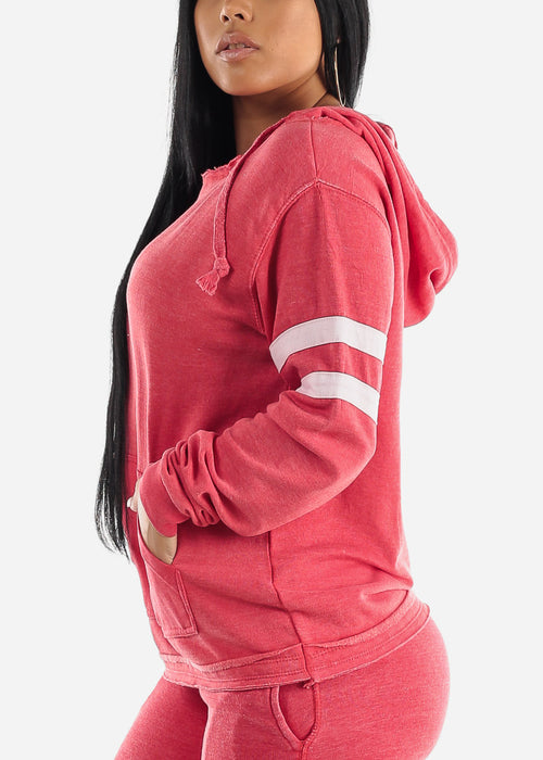 Long Sleeve Red Fleece Hoodie