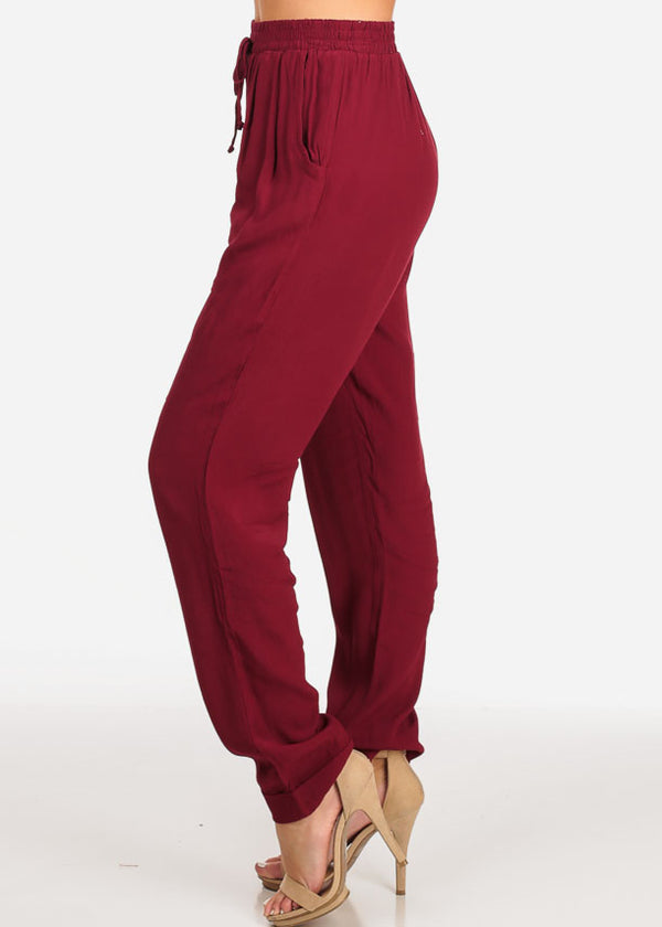 Casual High Rise Wine Pants