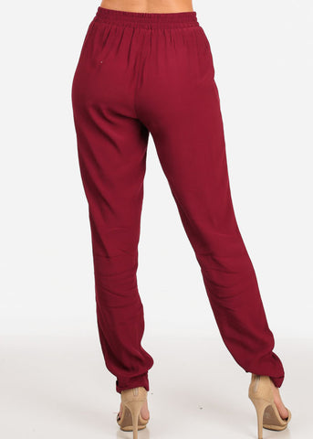 Image of Women's Junior Summer Beach Brunch Vacation Going Out Casual Lightweight Wine Red High Rise Pants