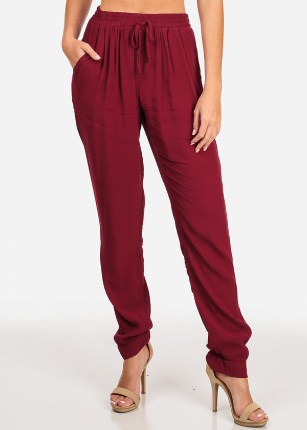 Women's Junior Summer Beach Brunch Vacation Going Out Casual Lightweight Wine Red High Rise Pants