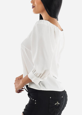 Image of Button Up Casual White Blouse