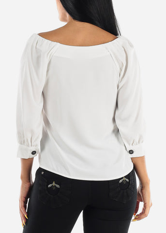 Button Up Casual White Blouse