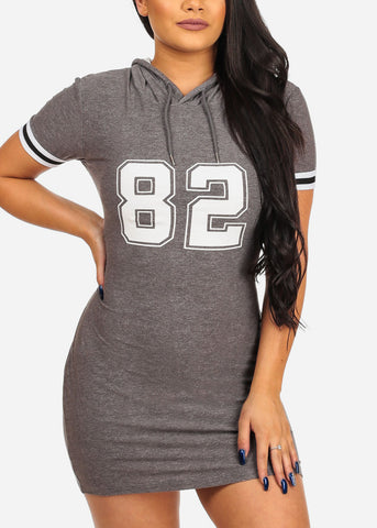 Image of Women's Junior Ladies Casual Bodycon Tight Fitted Graphic Print Stripe Sleeve Game Day Baseball T Shirt Graphic Printed Number Print heather Grey Dress