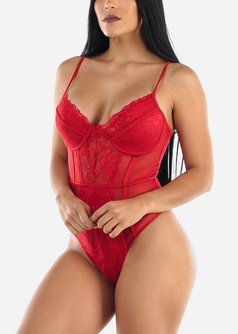 Red Floral Lace Mesh Bodysuit