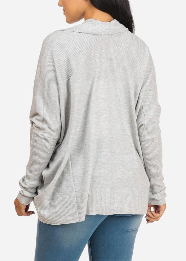 Open Front Cozy Light Grey Cardigan