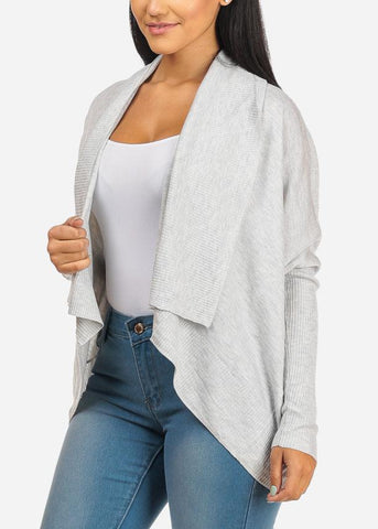 Image of Open Front Cozy Light Grey Cardigan