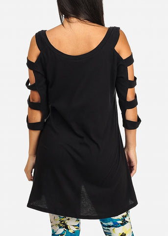 Cut out Black Tunic Top
