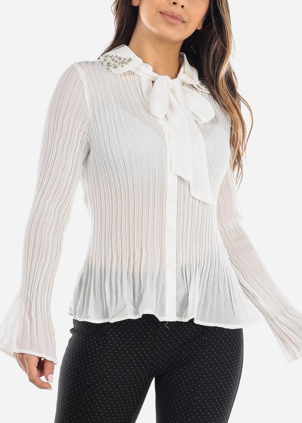 Pearl Collar Pleated White Blouse