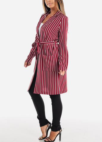 Red Stripe Belted Long Cardigan