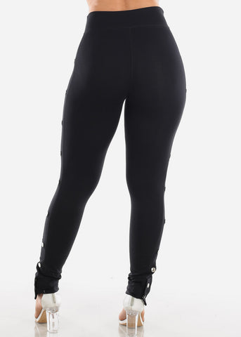 Sexy Stylish Going Out Pull On Black Side Silver Button Leggings