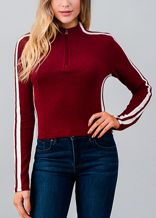 Neck Zipped Long Sleeve Burgundy Top