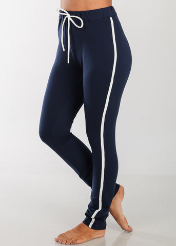 Image of High Rise Stripe Sides Navy Pants