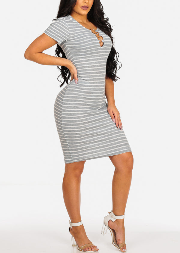 Grey Stripe Midi Dress