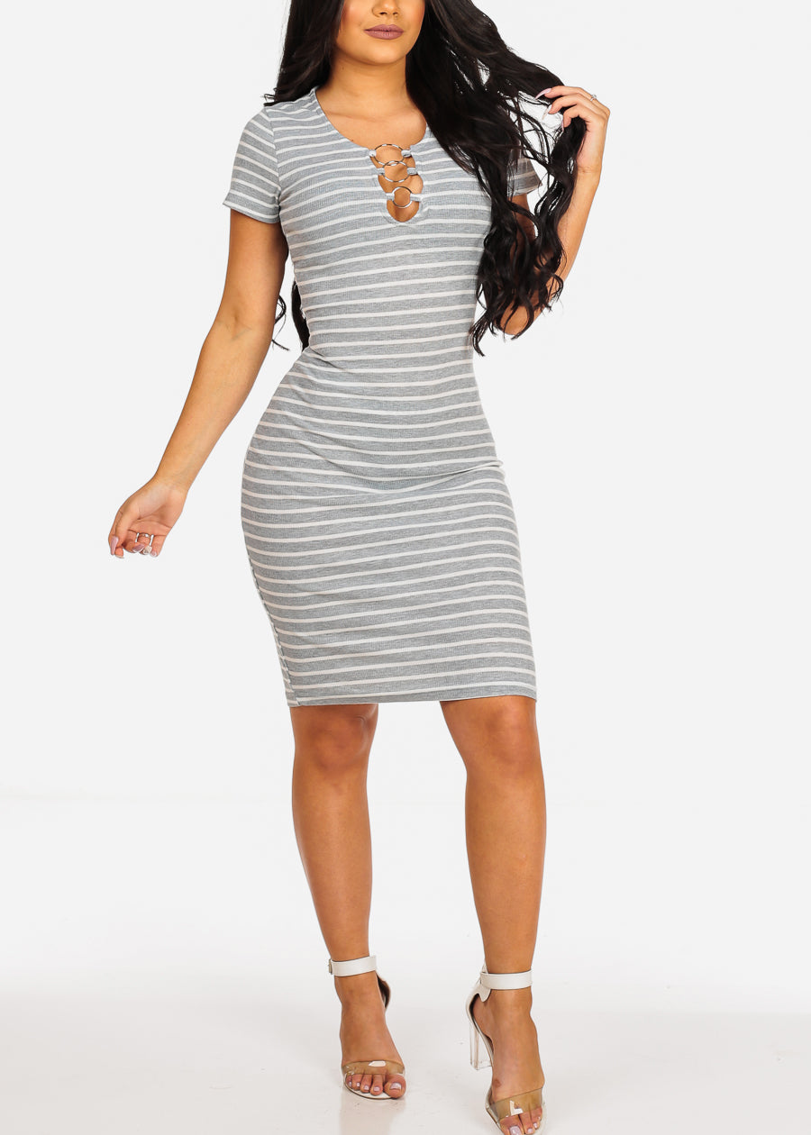 Sexy Casual  Grey Stripe Ring Inset V Neckline Bodycon Midi Dress
