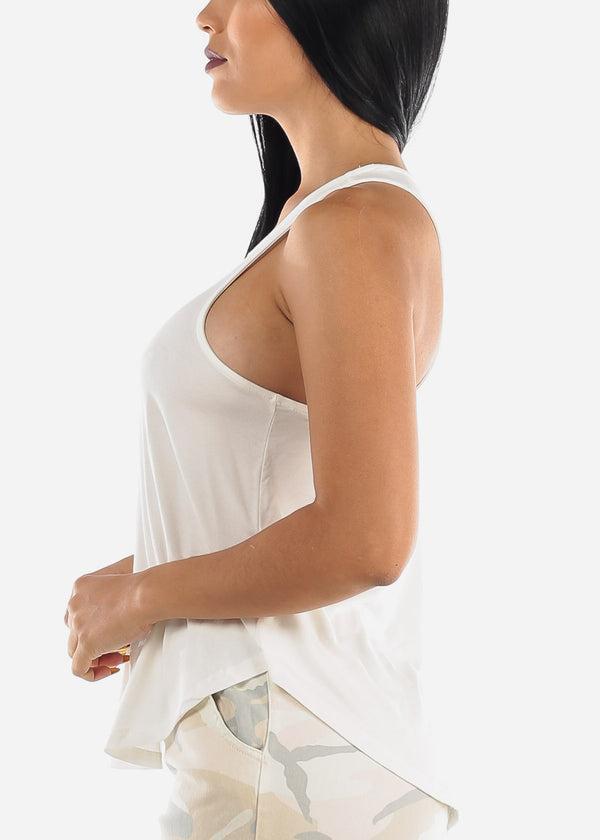 Casual White Sleeveless Top