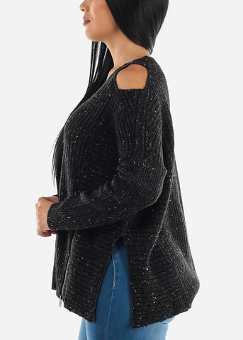 Image of Black Open Shoulder Vneck Sweater