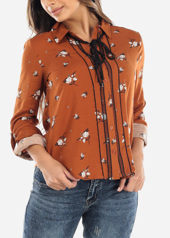 Orange Floral Tie-Neck Button Down Top