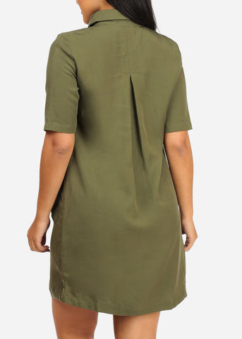 Image of Casual Green Laced Up Dress