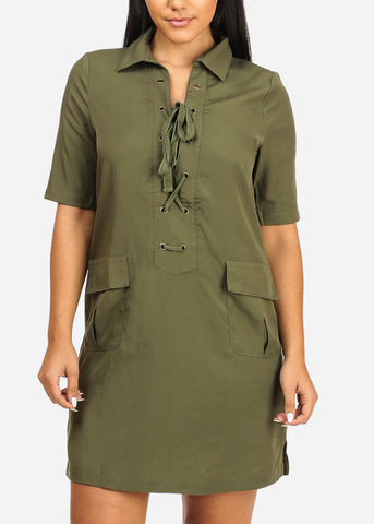 Casual Green Laced Up Dress