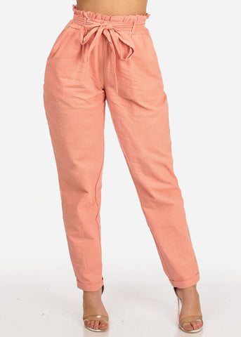 Image of Sexy Summer Trendy High Waisted Tie Belt Ankle Rose Lightweight Linen Skinny Pants