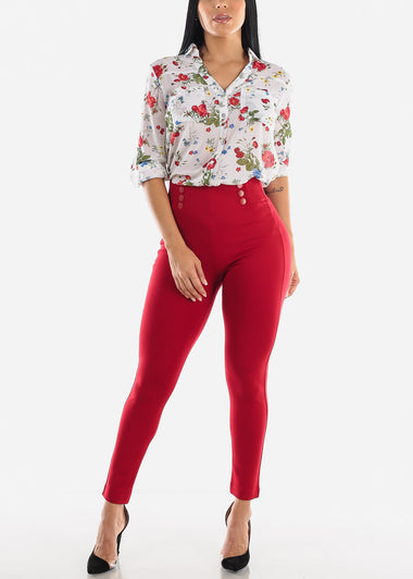 High Waist Button Red Pants