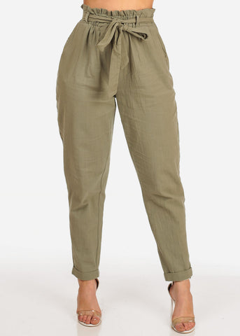 Image of Sexy Summer Trendy High Waisted Tie Belt Ankle Olive Lightweight Linen Skinny Pants