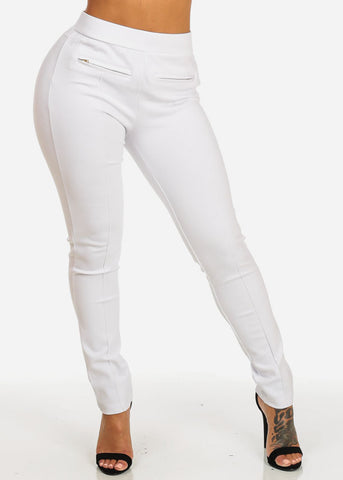 White High Waist Pull On Skinny Pants